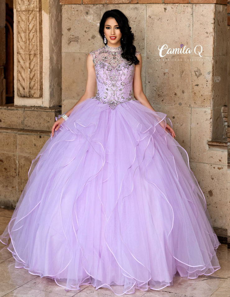 Ruffled Beaded High Neck Quinceanera Dress by Camila Q Q19004-Quinceanera Dresses-ABC Fashion