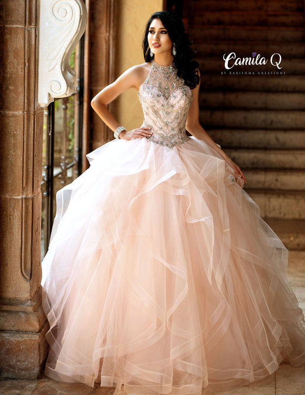 Ruffled Beaded High Neck Quinceanera Dress by Camila Q Q19006-Quinceanera Dresses-ABC Fashion