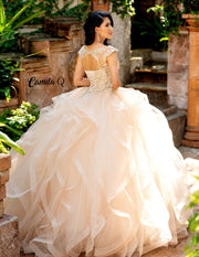 Ruffled Beaded Illusion Quinceanera Dress by Camila Q Q19002-Quinceanera Dresses-ABC Fashion