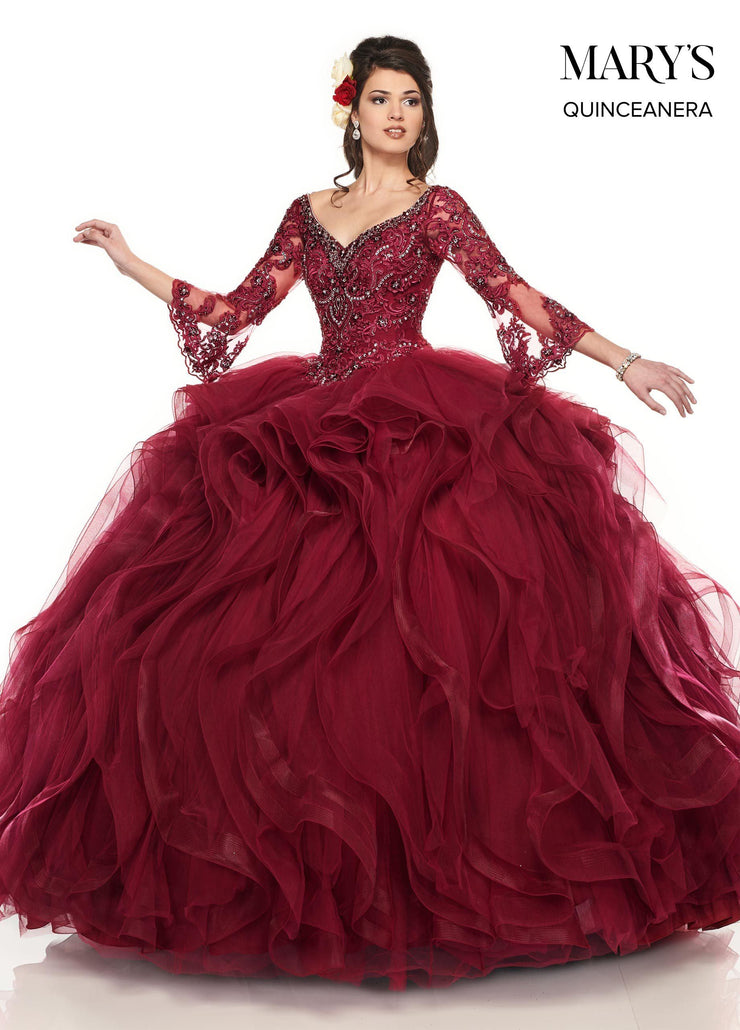 Ruffled Bell Sleeve Quinceanera Dress by Mary's Bridal MQ2087-Quinceanera Dresses-ABC Fashion
