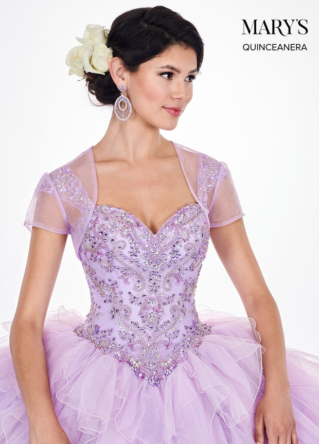 Ruffled Cap Sleeve Quinceanera Dress by Mary's Bridal MQ2061-Quinceanera Dresses-ABC Fashion
