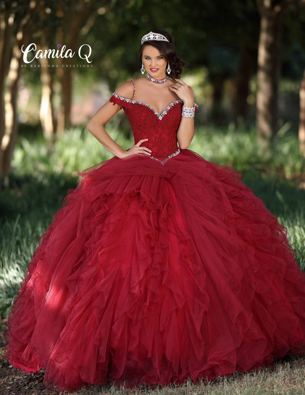 Ruffled Cold Shoulder Quinceanera Dress by Camila Q Q18012-Quinceanera Dresses-ABC Fashion