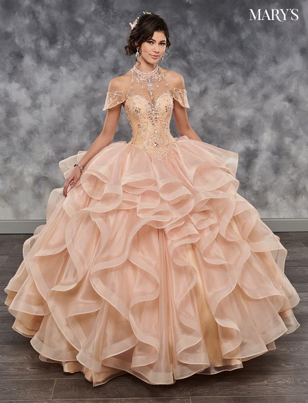 Ruffled Cold Shoulder Quinceanera Dress by Mary's Bridal MQ2034