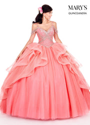 Ruffled Cold Shoulder Quinceanera Dress by Mary's Bridal MQ2053-Quinceanera Dresses-ABC Fashion