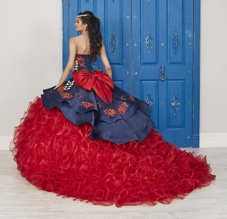 Ruffled Floral Charro Dress by House of Wu LA Glitter 24037-Quinceanera Dresses-ABC Fashion