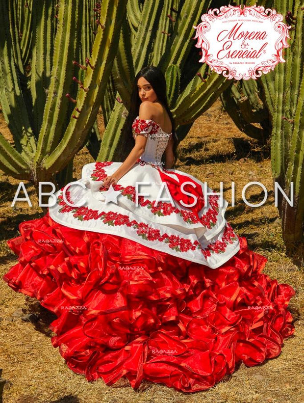 Ruffled Floral Charro Quince Dress by Ragazza Fashion MV17-117-Quinceanera Dresses-ABC Fashion