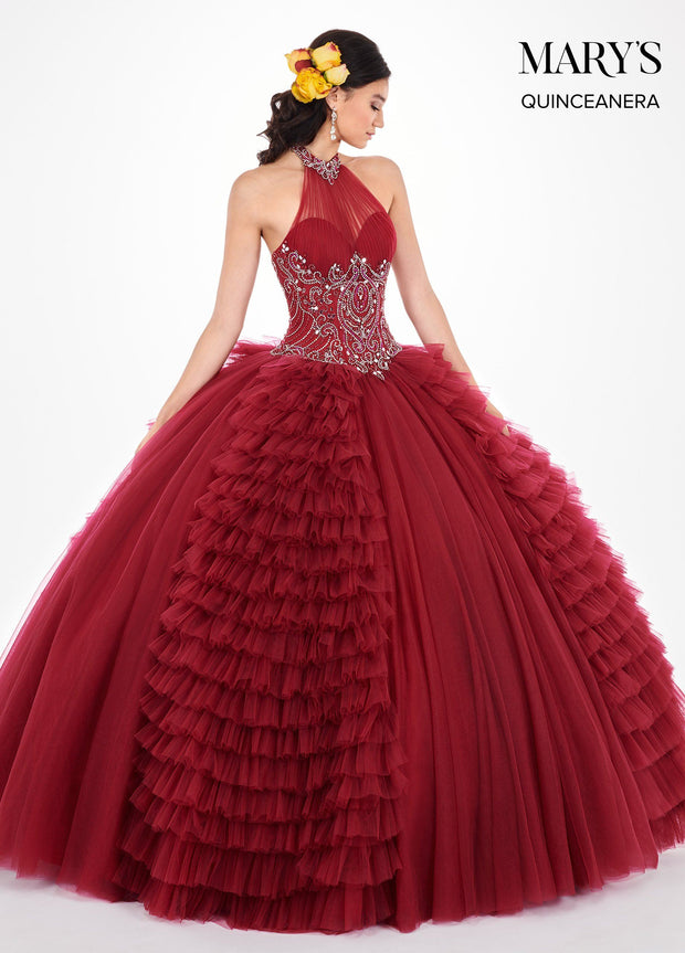 Ruffled Halter Illusion Quinceanera Dress by Mary's Bridal MQ2063-Quinceanera Dresses-ABC Fashion