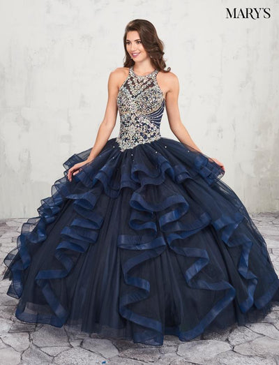Ruffled Halter Quinceanera Dress by Mary's Bridal MQ2011