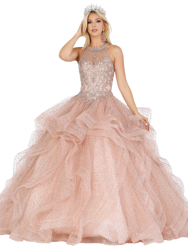 Ruffled High Neck Illusion Glitter Ball Gown by Dancing Queen 1495