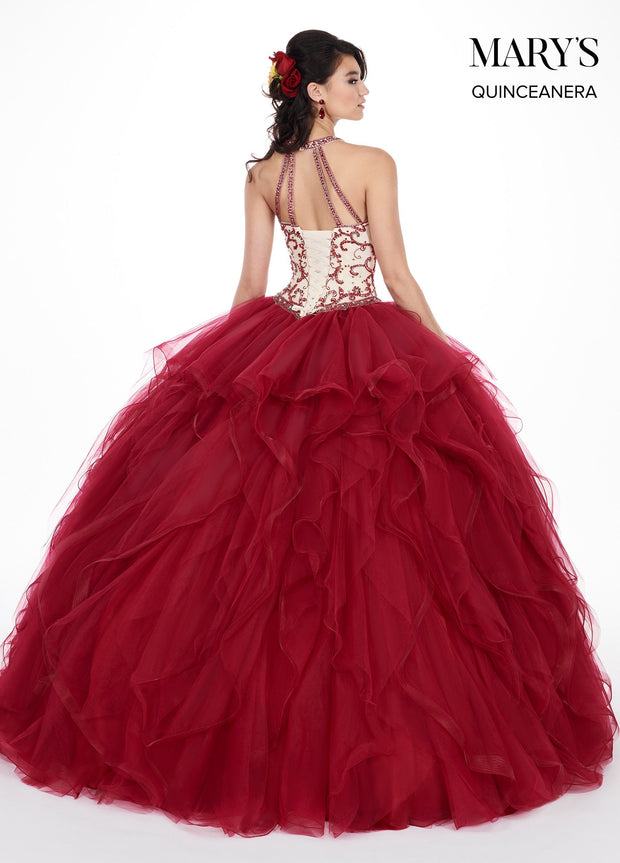 Ruffled Illusion Halter Quinceanera Dress by Mary's Bridal MQ1042-Quinceanera Dresses-ABC Fashion