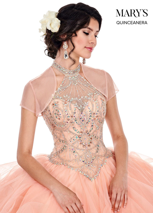 Ruffled Illusion Halter Quinceanera Dress by Mary's Bridal MQ2049-Quinceanera Dresses-ABC Fashion