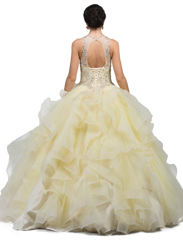 Ruffled Illusion High-Neck Ball Gown by Dancing Queen 1243