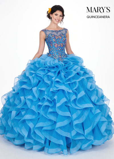 Ruffled Illusion Quinceanera Dress by Mary's Bridal MQ1037-Quinceanera Dresses-ABC Fashion