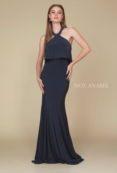 Ruffled Long Halter Dress with Train by Nox Anabel Q132-Long Formal Dresses-ABC Fashion