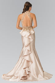 Ruffled Mermaid Gown with Illusion Top by Elizabeth K GL2280-Long Formal Dresses-ABC Fashion