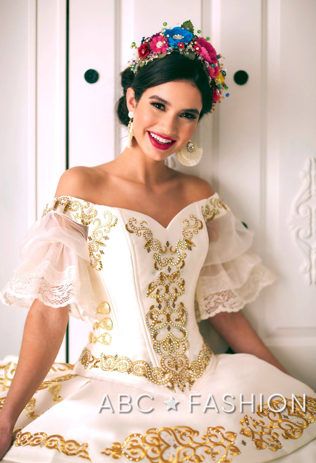 Ruffled Off Shoulder Charro Quinceanera Dress by LA Glitter 24051-Quinceanera Dresses-ABC Fashion
