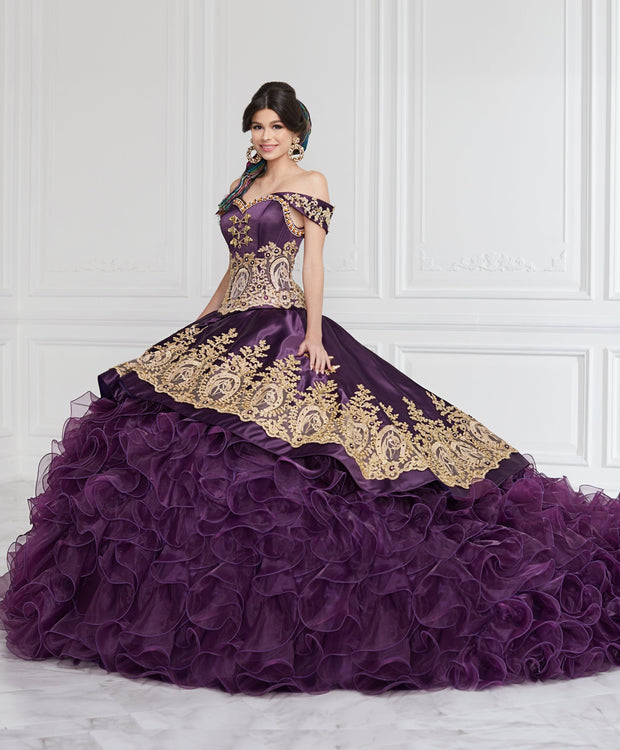 Ruffled Off Shoulder Charro Quinceanera Dress by LA Glitter 24063-Quinceanera Dresses-ABC Fashion