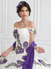 Ruffled Off Shoulder Floral Quinceanera Dress by LA Glitter 24064-Quinceanera Dresses-ABC Fashion