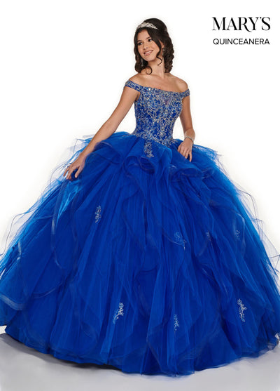 Ruffled Off Shoulder Quinceanera Dress by Mary's Bridal MQ1056-Quinceanera Dresses-ABC Fashion