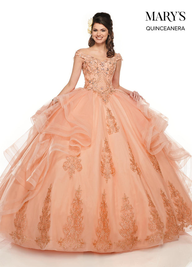Ruffled Off Shoulder Quinceanera Dress by Mary's Bridal MQ2083-Quinceanera Dresses-ABC Fashion