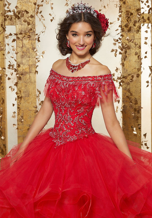 Ruffled Off Shoulder Quinceanera Dress by Mori Lee Vizcaya 89237-Quinceanera Dresses-ABC Fashion