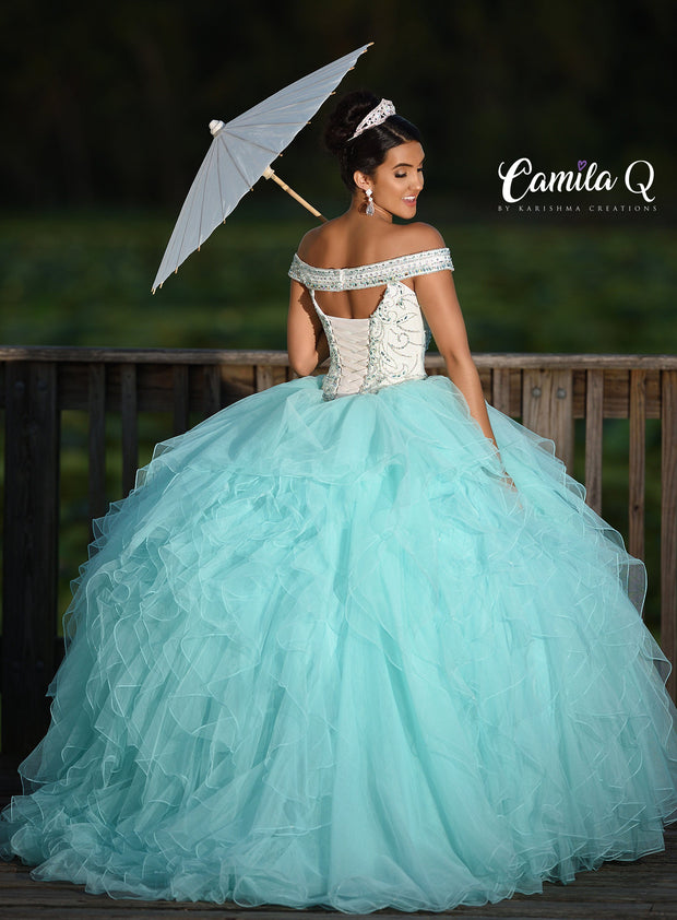 Ruffled Off the Shoulder Quinceanera Dress by Camila Q Q18011-Quinceanera Dresses-ABC Fashion