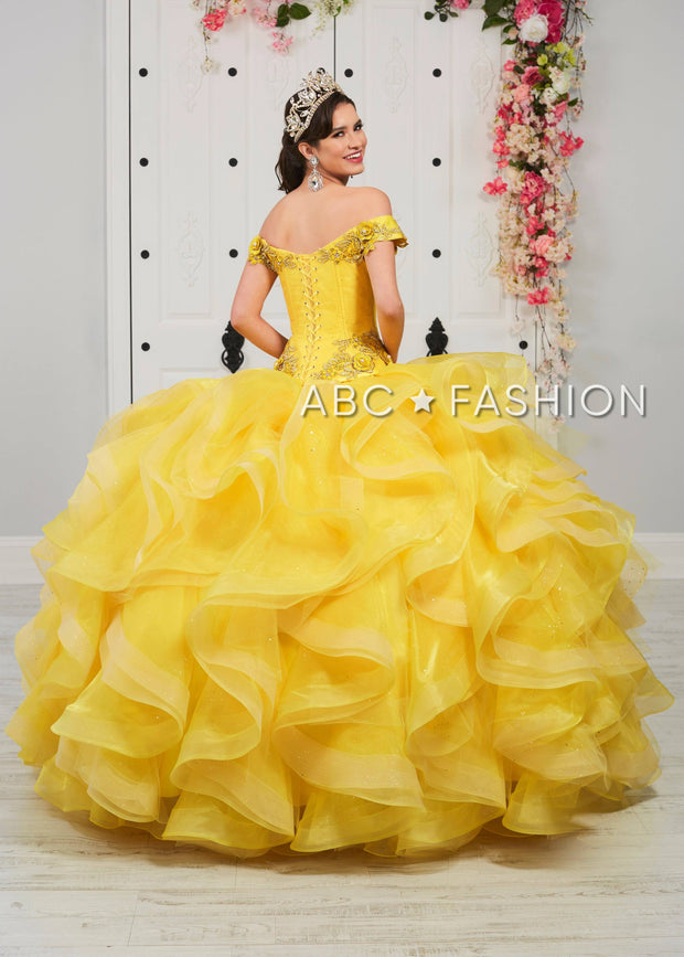 Ruffled Off the Shoulder Quinceanera Dress by LA Glitter 24055-Quinceanera Dresses-ABC Fashion