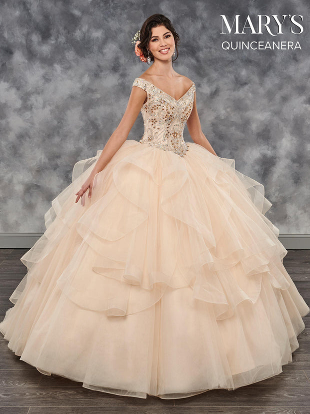 Ruffled Off the Shoulder Quinceanera Dress by Mary's Bridal MQ2027-Quinceanera Dresses-ABC Fashion