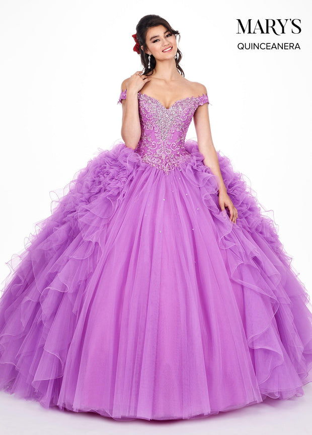 Ruffled Off the Shoulder Quinceanera Dress by Mary's Bridal MQ2048-Quinceanera Dresses-ABC Fashion