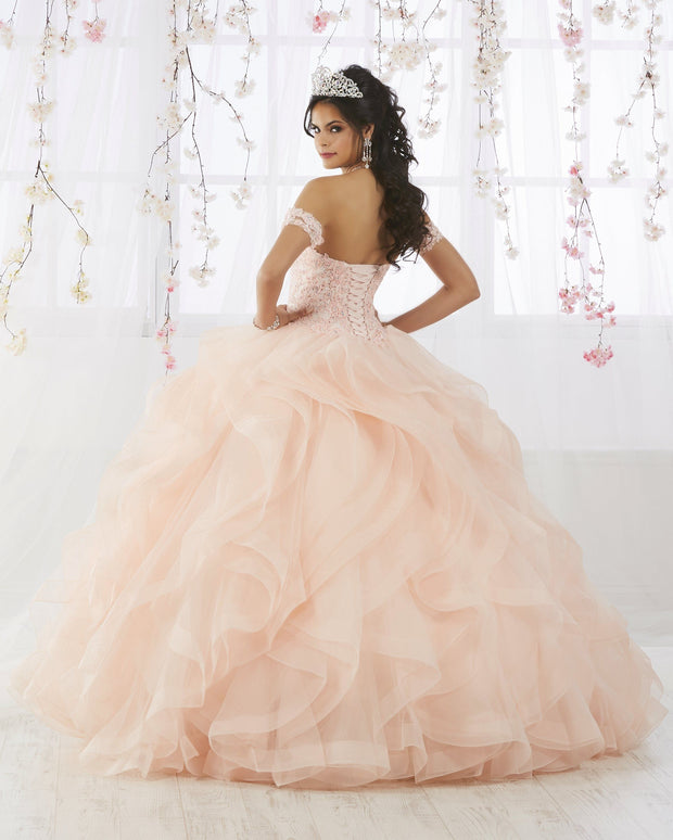 Ruffled Quinceanera Dress with Appliques by Fiesta Gowns 56372 (Size 12 - 22)-Quinceanera Dresses-ABC Fashion