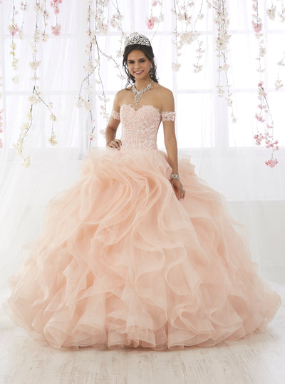 Ruffled Quinceanera Dress with Appliques by Fiesta Gowns 56372 (Size 24 - 30)-Quinceanera Dresses-ABC Fashion