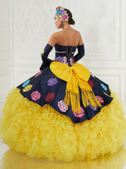 Ruffled Rose Charro Quinceanera Dress by LA Glitter 24074