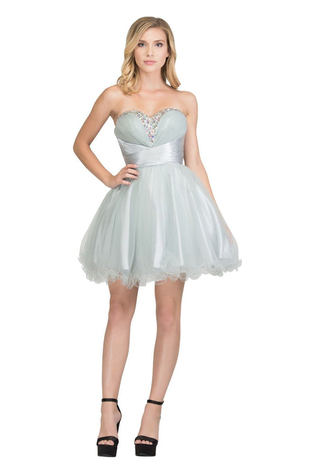 Ruffled Short Strapless Dress with Beaded Bodice by Star Box 591-Short Cocktail Dresses-ABC Fashion