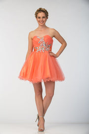 Ruffled Short Strapless Dress with Beaded Bodice by Star Box 594-Short Cocktail Dresses-ABC Fashion