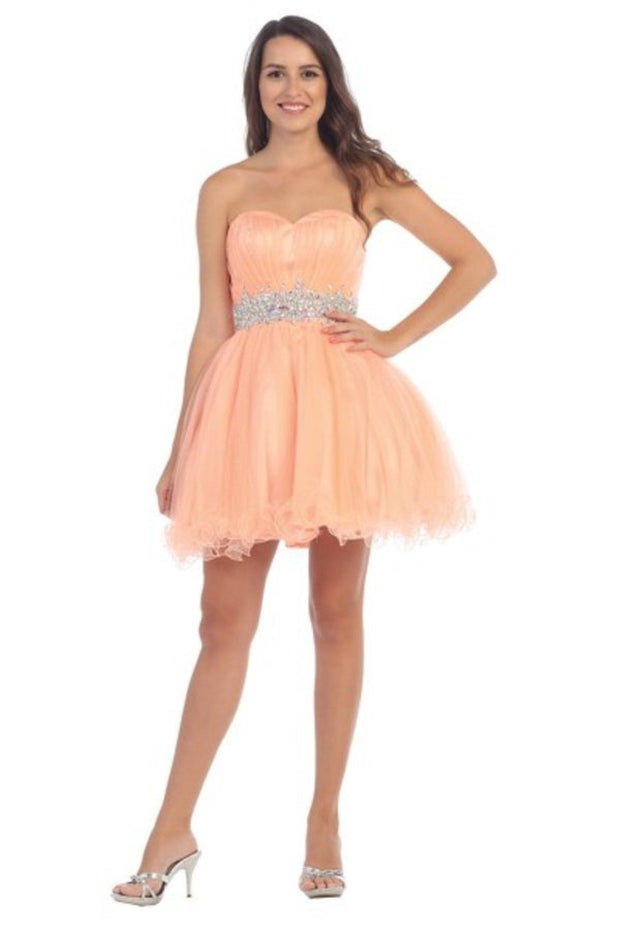 Ruffled Short Strapless Dress with Beaded Waist by Star Box 598-Short Cocktail Dresses-ABC Fashion