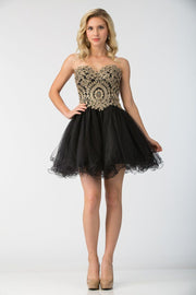 Ruffled Short Strapless Dress with Gold Lace Applique by Star Box 6411-Short Cocktail Dresses-ABC Fashion