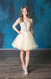 Ruffled Short V-Neck Tulle Dress by Calla Collection