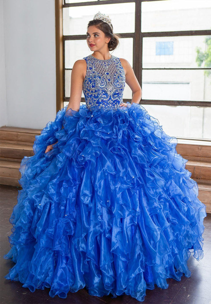 Ruffled Sleeveless Illusion Quinceanera Dress by Calla KY71212X-Quinceanera Dresses-ABC Fashion