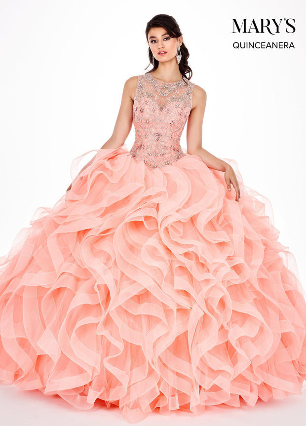 Ruffled Sleeveless Illusion Quinceanera Dress by Mary's Bridal MQ2054-Quinceanera Dresses-ABC Fashion