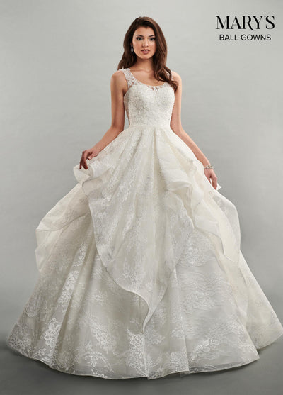 Ruffled Sleeveless Lace Wedding Dress by Mary's Bridal MB6050-Wedding Dresses-ABC Fashion