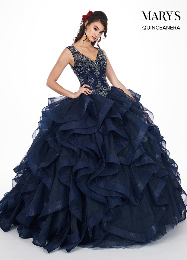 Ruffled Sleeveless V-Neck Quinceanera Dress by Mary's Bridal MQ2045-Quinceanera Dresses-ABC Fashion