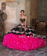 Ruffled Strapless Charro Quinceanera Dress by Ragazza Fashion M23-123