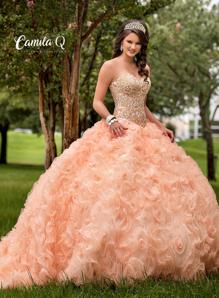 Ruffled Strapless Quinceanera Dress by Camila Q Q17029-Quinceanera Dresses-ABC Fashion
