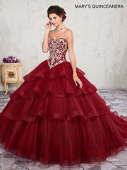 Ruffled Strapless Quinceanera Dress by Mary's Bridal M4Q2004-Quinceanera Dresses-ABC Fashion