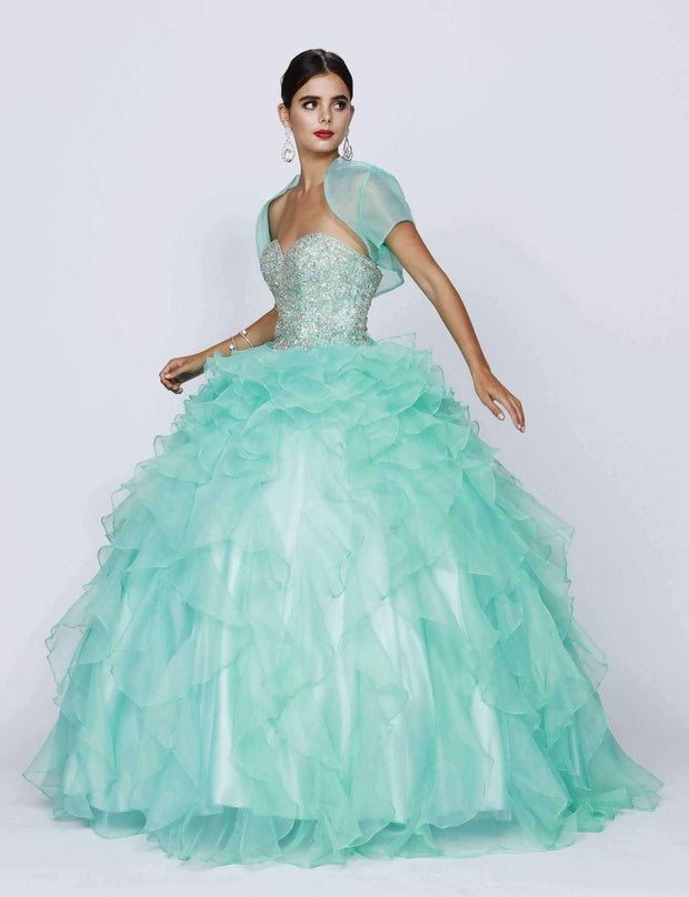 Ruffled Strapless Sweetheart Ball Gown with Bolero by Juliet 322-Quinceanera Dresses-ABC Fashion
