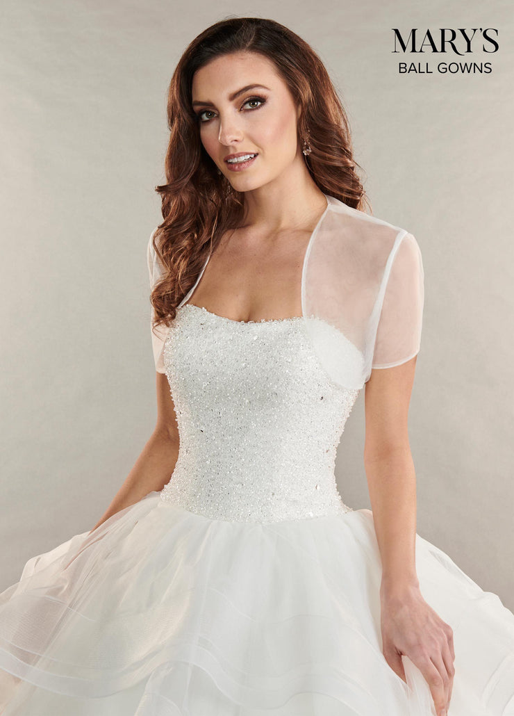 Ruffled Strapless Tulle Wedding Dress by Mary's Bridal MB6053-Wedding Dresses-ABC Fashion