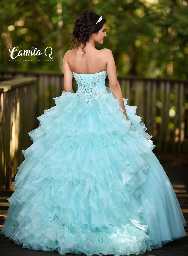 Ruffled Sweetheart High Low Quinceanera Dress by Camila Q Q18006-Quinceanera Dresses-ABC Fashion