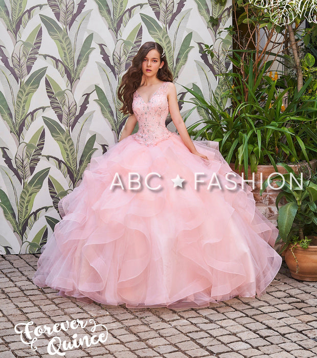 Ruffled V-Neck Quinceanera Dress by Forever Quince FQ811-Quinceanera Dresses-ABC Fashion