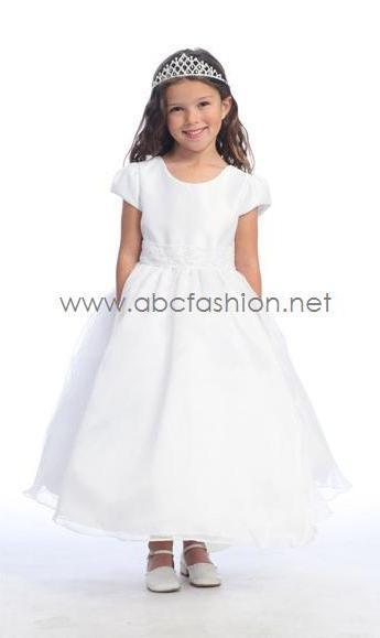 Satin and Organza Flower Girl Dress-Girls Formal Dresses-ABC Fashion