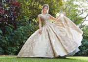 Satin Cap Sleeve Quinceanera Dress by Mori Lee Vizcaya 89290
